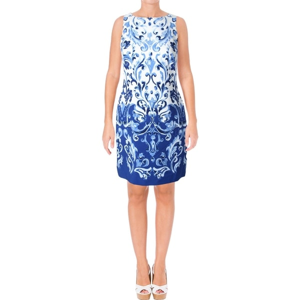 Lauren Ralph Lauren Womens Petites Cocktail Dress Printed Sleeveless