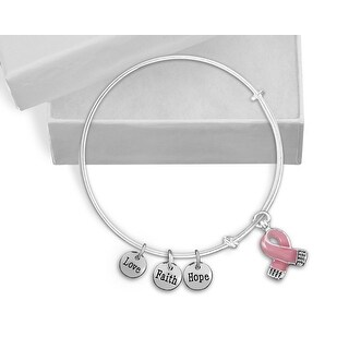 Pink Ribbon Breast Cancer Awareness Retractable Charm Bracelet