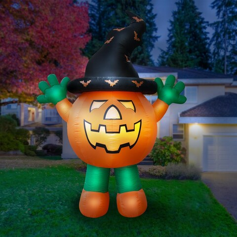 Holidayana Giant 10 Ft Airblown Inflatable Halloween Pumpkin Man with Super Bright Internal Lights, Built-in Fan & Anchor Ropes