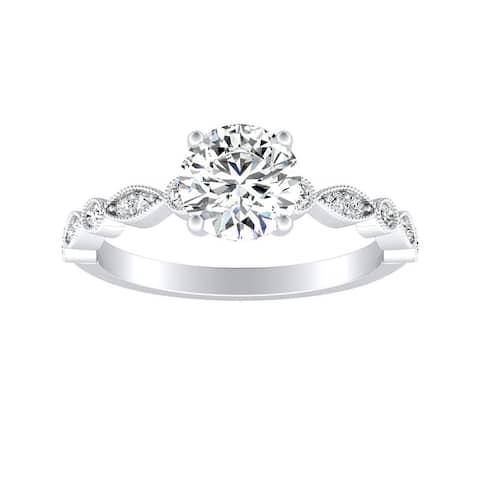 Auriya 14k Gold 1/2ct Vintage Round Moissanite Engagement Ring