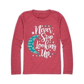 Never Stop Looking Up - Youth Girl Long Sleeve Tee - heather maroon