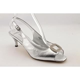 J. Renee Classic Women   Leather Silver Slingback