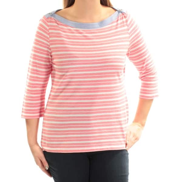 san francisco ny hög kvalitet 50% pris Shop TOMMY HILFIGER $50 Womens New 1529 Red Striped 3/4 Sleeve ...
