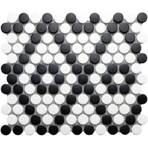 Industry Tile 10x9 Penny Round Black and White matte porcelain mosaic (20 pc/ case)
