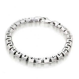 Bling Jewelry Mens Square Link Chain Bracelet 925 Sterling Silver 8.5in
