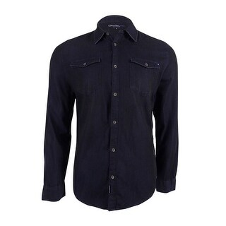 Calvin Klein Jeans Men's Weft Ripped and Repaired Shirt - blue weft