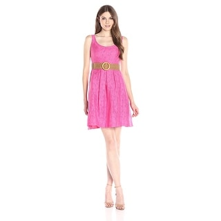 Nine West Linear Burnout Topstitch Pleat Belted Dress - 16