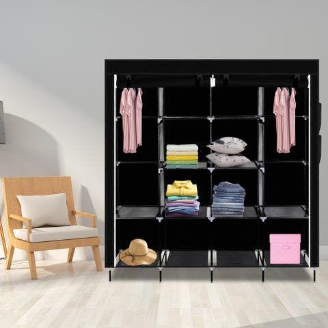 "67"" Clothes Closet Portable Wardrobe Clothes Storage Rack 12 Shelves 4 Side Pockets"