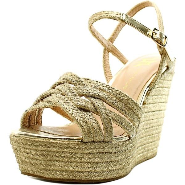 LFL Lazer Women Open Toe Canvas Gold Wedge Sandal