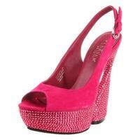 Pleaser Womens Swan Platform Sandals Suede Rhinestone