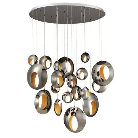 Eurofase Arlington 19 Light Integrated LED Chandelier in Blackened Chrome Chandelier