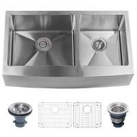 """Miseno MSS3620F6040 Farmhouse 36"""" Double Basin Stainless Steel Kitchen Sink with Apron Front with 60/40 Split - Drain Assemblies"""