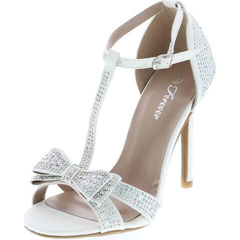 Forever Link Alina-64 Rhinestone Glitter Tstrap Bow Detail Formal Heel