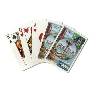 Seattle, Washington - Scenes Montage - Lantern Press Artwork (Playing Card Deck - 52 Card Poker Size with Jokers)
