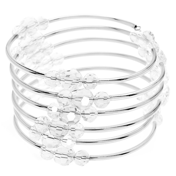 Memory Wire Noodle Bead Bracelet (Clear/SP) - Exclusive Beadaholique Jewelry Kit