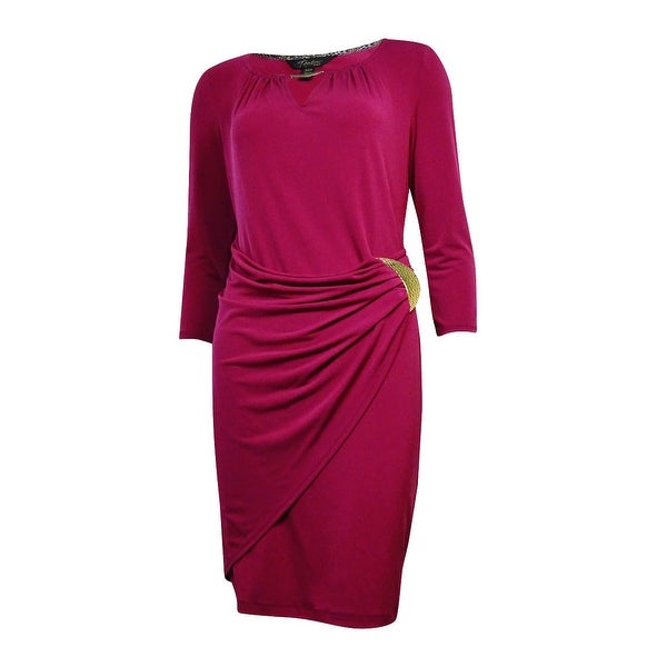 Thalia Sodi Women's Hardware Embellished Faux Wrap Dress - regal berry