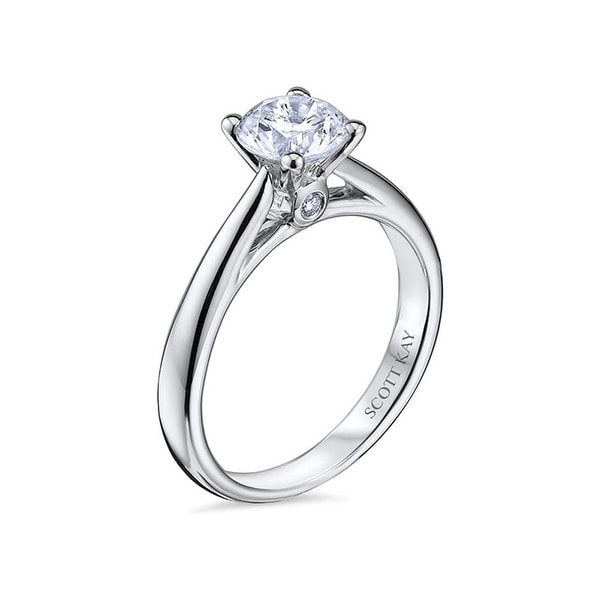 4f13b3b58 14kt White Gold Ladies Solitaire Semi Mount with 0.03CT Surprise Diamond  Set Wedding Band by