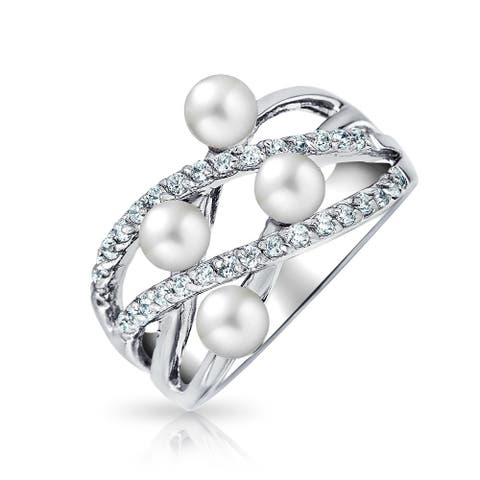 Criss Cross Stacking Style Imitation Pearl 4mm CZ Cocktail Ring Rhodium Plated Sterling Silver