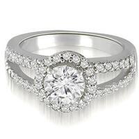 1.42 cttw. 14K White Gold Halo Split-Shank Round Cut Diamond Engagement Ring