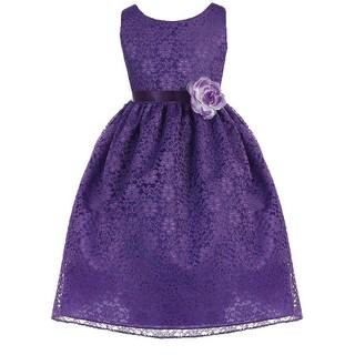 Floral Pattern Lace Flower Girl Dress Purple CA 749