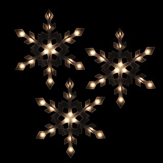 Set of 3 Clear Lighted Snowflake Icicle Christmas Lights - White Wire