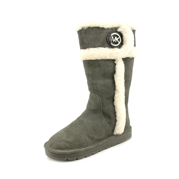 Michael Michael Kors Winter Tall Boot II Women Round Toe Suede Gray Winter Boot