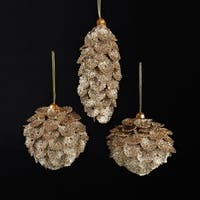 Club Pack of 24 Deco and Diamonds Gold Drop, Onion, and Ball Pinecone Ornaments 5.1""