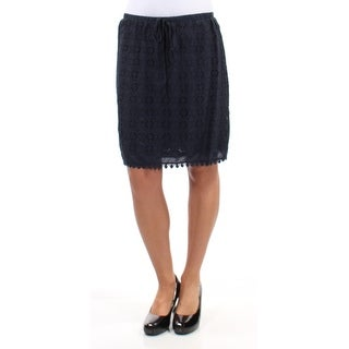 STUDIO M $68 Womens New 2335 Navy Geometric Eyelet Pencil Skirt XS B+B