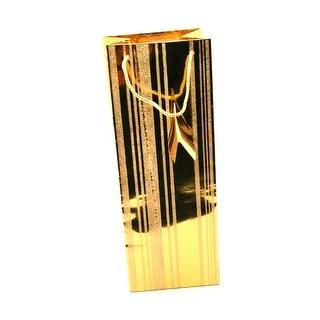 Glitter Gold Stripe Wine Bottle Bag
