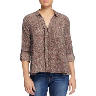 Bobeau Womens Blouse Paisley Adjustable Sleeves
