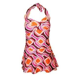 Twist Front Ruched Side Halter Tie Swimdress in Retro Graphic Print