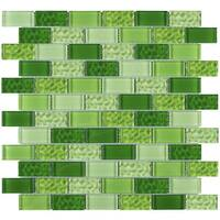 "TileGen. Cockles 1"" x 2"" Glass Mosaic Tile in Green Wall Tile (10 sheets/9.6sqft.)"