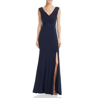 Link to Adrianna Papell Womens Evening Dress Beaded Pintuck - Midnight Similar Items in Dresses