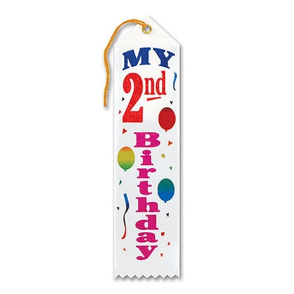 "Pack of 6 White ""My 2nd Birthday Award"" School Award Ribbon Bookmarks 8"" - N/A"
