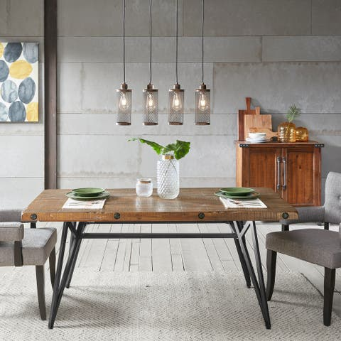INK+IVY Reclaimed Brown Wood Gunmetal Trestle Dining Table