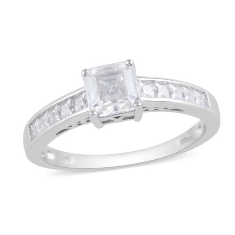 925 Sterling Silver Moissanite Anniversary Ring Size 10 Ct 1.6