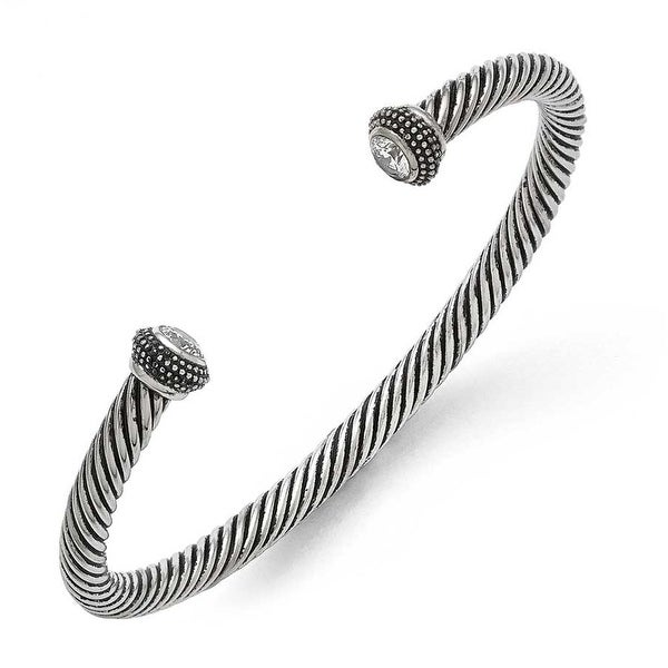 Chisel Stainless Steel Polished/Antiqued CZ Twisted Bracelet