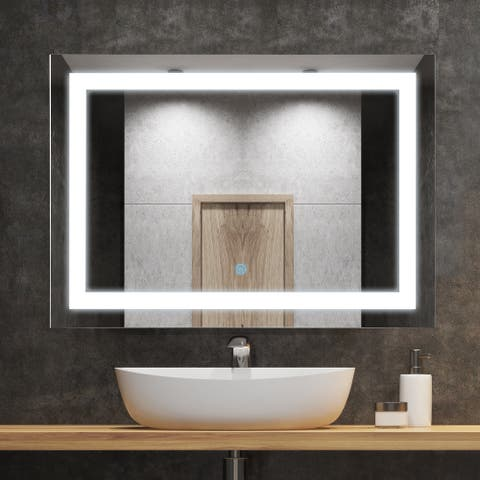 """HOMCOM 28"""" LED Illuminated Bathroom Wall Vanity Mirror with Outline LEDs, Adjustable Horizontally or Vertically, Silver"""