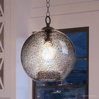 """Luxury Vintage Pendant Light, 14""""H x 12""""W, with Americana Style, Charcoal  Finish by Urban Ambiance"""