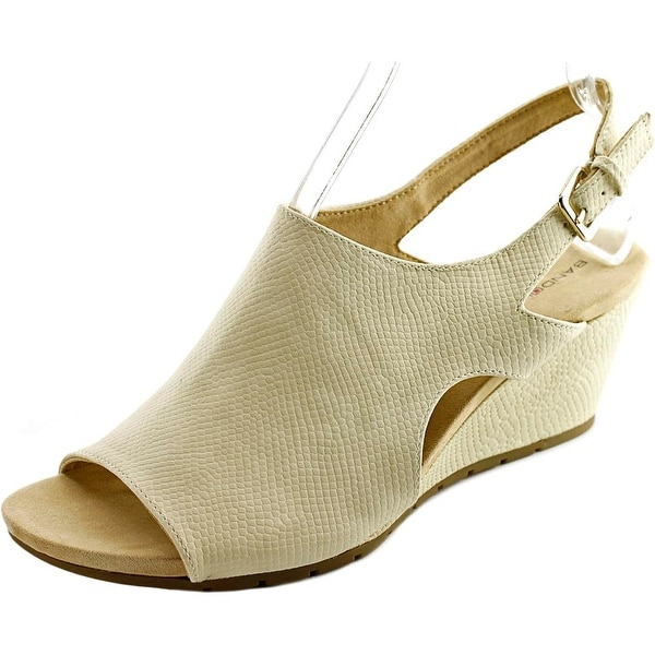 Bandolino Galatee Women  Open Toe Canvas Ivory Wedge Sandal
