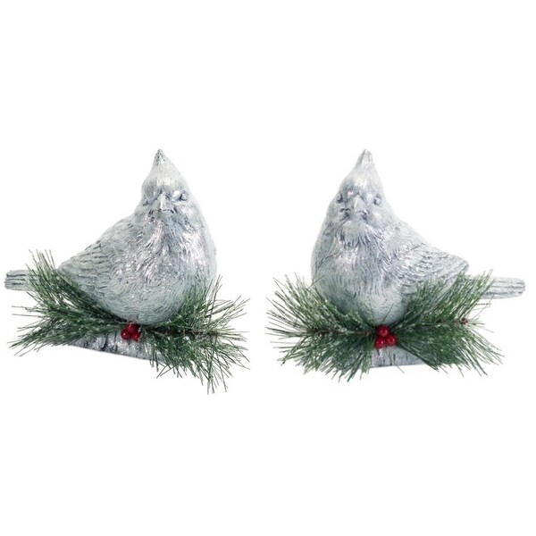 Pack of 4 Gray and Green Cardinals with Pine Accents Christmas Tabletops 7.5""