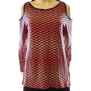 Tommy Hilfiger NEW Red Navy Women's Size Large LCold Shoulder Blouse