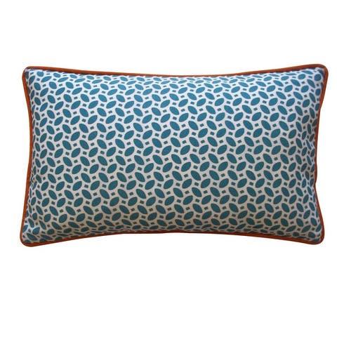 Jiti Blue Geometric Transitional Sunbrella Outdoor Pillows - 12 x 20