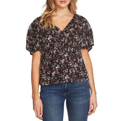 CeCe Women's Blouse Black Size XL Floral Print Short Sleeve V-Neck