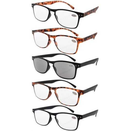 Eyekepper Ultrathin Flex 5-pack 80's Reading Glasses Include Sun Readers +2.5