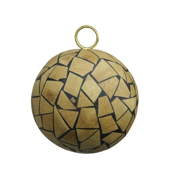"Brown Humble Holiday Wood Mosaic Christmas Ball Ornament 4"" (100mm)"