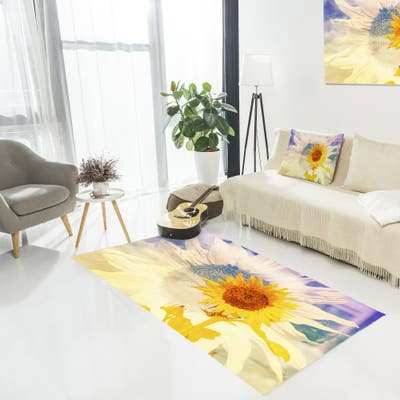 Designart 'Double Exposure Yellow Sunflowers' Floral Area Rug