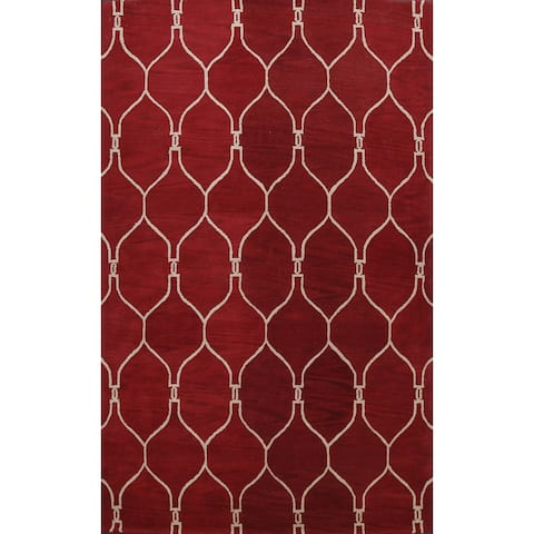"""Red Trellis Oriental Contemporary Area Rug Hand-tufted Wool Carpet - 9'0"""" x 12'0"""""""