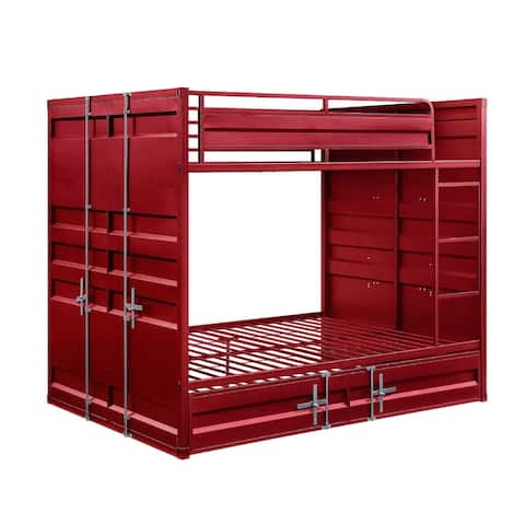 Industrial Style Full Size Bunk Bed with Recessed Panel Design, Red