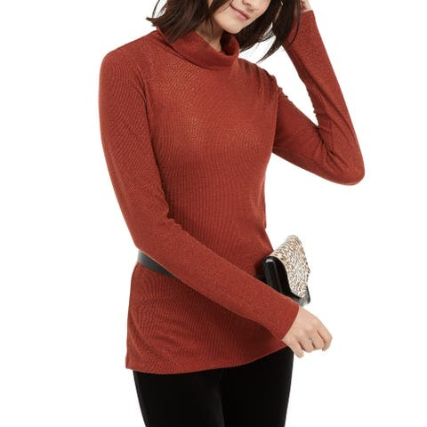 INC International Women's Metallic-Knit Turtleneck Sweater Brown Size Medium